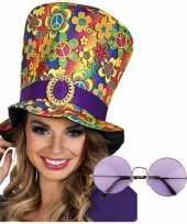 Hippie verkleedsetje hoed met bril