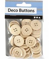 Hobby blank houten knopen 30 stuks