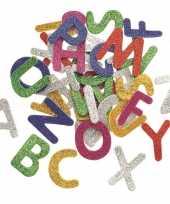 Hobby foam 52x foam rubberen glitter letters gekleurd