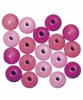Hobby kralen roze gekleurd 6 mm