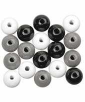 Hobby kralen zwart wit zilver gekleurd 6 mm