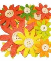 Hobby vilt 12 geel oranje groen vilten bloemen met knoop 3 5 7 c