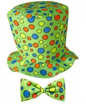 Hoge clowns hoed met stippen