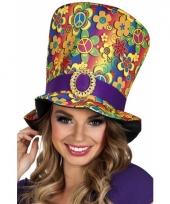 Hoge hippie hoed met bloemen