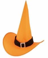 Hoge oranje heksenhoed voor volwassenen