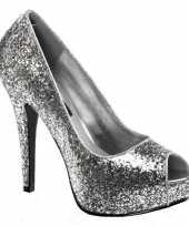 Hoge zilverkleurige glitter pumps