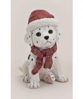 Honden beeldje dalmatier met kerstmuts