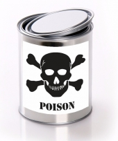 Horror decoratie blik met poison gif etiket