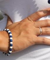 Houten armband blauw met wit