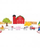 Houten boerderij speelset met rijgkoord