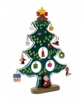 Houten decoratie kerstboom met hangers