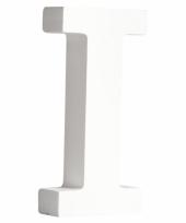 Houten decoratie letter i 11 cm