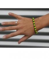 Houten kralen armband geel met groen