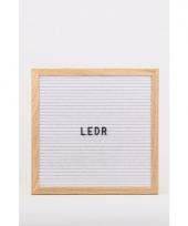 Houten letterbord met wit vilt 30 x 30 cm