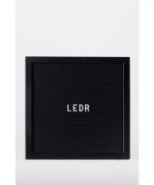 Houten letterbord met zwart vilt 30 x 30 cm
