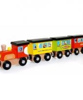 Houten speelgoed trein landen thema
