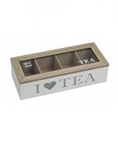 Houten theedoos wit met 4 vakken i love tea 26 x 11