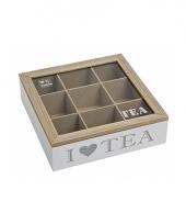 Houten theedoos wit met 9 vakken i love tea 24 x 24