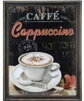 Houten vintage schilderij cappuccino koffie