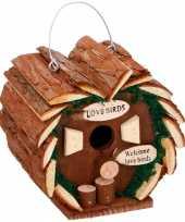 Houten vogelhuis hart 16 cm