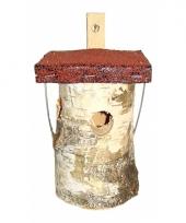 Houten vogelhuisje rond 20 cm