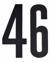Huisvuil containerstickers cijfer 46 10 cm