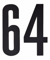 Huisvuil containerstickers cijfer 64 10 cm