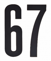 Huisvuil containerstickers cijfer 67 10 cm