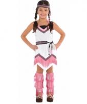 Indianen jurkje wit roze voor meisjes