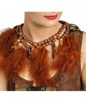 Indianen ketting bruin met veren