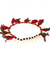 Indianen ketting met tanden en veren