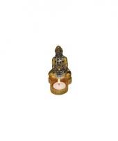 Indisch boeddha beeldje met waxinelichthouder goud zwart