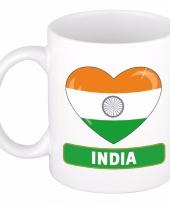 Indische vlag hart mok beker 300 ml