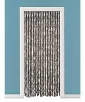 Insectenwerende pluche kattenstaarten deurgordijnen bruin 93 x 230 cm