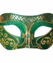 Italiaans oogmasker glitter groen goud