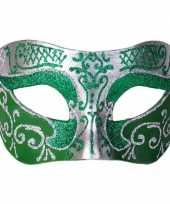 Italiaans oogmasker glitter groen zilver