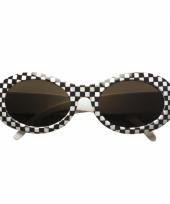 Jaren 60 bril met ruitjes zwart met wit