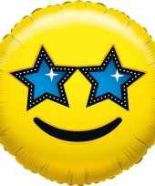 Kado ballon emoticon met sterretjesogen 35 cm