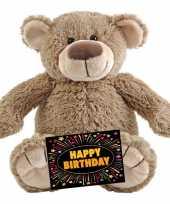 Kado knuffel beer beige 22 cm gratis verjaardagskaart