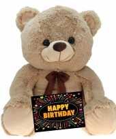 Kado knuffel beer beige 75 cm gratis verjaardagskaart