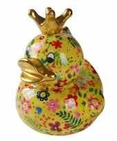 Kado mega spaarpot geel eendje met bloemen 28 cm