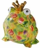 Kado mega spaarpot kikker licht groen palmbladeren 28 cm