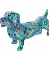 Kado spaarpot blauwe hond teckel met bloemen print 19 cm