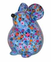 Kado spaarpot blauwe muis met hartjes print 17 cm
