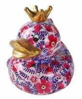 Kado spaarpot eendje roze met paars 16 cm