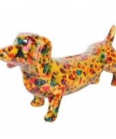 Kado spaarpot gele hond teckel met lieveheersbeestje print 19 cm