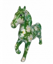 Kado spaarpot groen paard met bloem print 21 cm