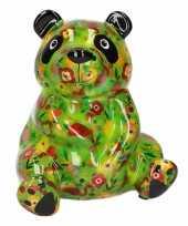 Kado spaarpot groen pandaatje met bloemen en fruit 22 cm