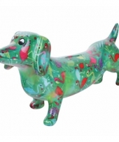 Kado spaarpot groene hond teckel met flamingo print 19 cm