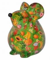Kado spaarpot groene muis met fruit print 17 cm